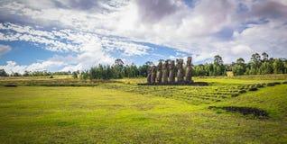 Ahu Akivi, Easter Island - July 12 2017: Moai statues of Ahu Akivi. Ahu Akivi, Easter Island - July 12 2017: The Moai statues of Ahu Akivi royalty free stock photos