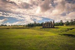 Ahu Akivi, Easter Island - July 12 2017: Moai statues of Ahu Akivi. Ahu Akivi, Easter Island - July 12 2017: The Moai statues of Ahu Akivi royalty free stock image