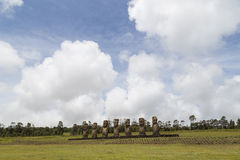 Ahu Akivi on Easter Island Royalty Free Stock Photo