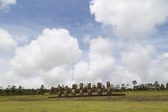 Ahu Akivi on Easter Island royalty free stock photo