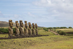 Ahu Akivi on Easter Island stock photo