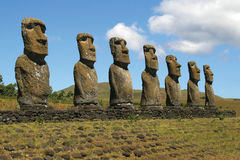 Ahu Akivi, isola di pasqua Fotografia Stock Libera da Diritti