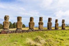 Ahu Akivi miejsce w Wielkanocnej wyspie, Chile Obrazy Stock