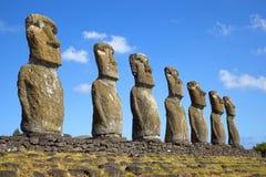 Ahu Akivi Moai, Rapa Nui,复活节岛,智利 免版税图库摄影