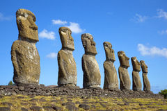 Ahu Akivi Moai, Rapa Nui, Easter Island, Chile. View of seven Ahu Akivi Moai, which are the only Moai to face the sea, Rapa Nui, Easter Island, Chile royalty free stock photography