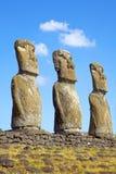 Ahu Akivi Moai, Rapa Nui, Easter Island, Chile. View of three of the seven Ahu Akivi Moai, which are the only Moai to face the sea, Rapa Nui, Easter Island stock image