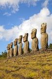 Ahu Akivi Moai, Rapa Nui, påskö, Chile Arkivfoton
