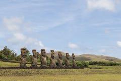 Ahu Akivi na Wielkanocnej wyspie Obrazy Royalty Free