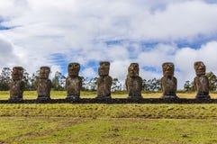 Ahu Akivi plats i påskön, Chile arkivfoto