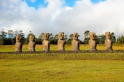 Ahu Akivi sette Moai Immagine Stock Libera da Diritti