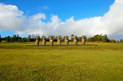 Ahu Akivi seven Moai. Long shot of the seven Moai at Ahu Akivi in Rapa Nui Easter Island in Chile, South America royalty free stock photos