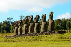 Ahu Akivi seven Moai. Long shot of the seven Moai at Ahu Akivi in Rapa Nui Easter Island in Chile, South America royalty free stock image