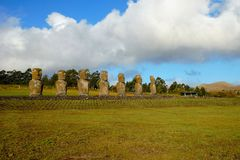 Ahu Akivi siedem Moai Zdjęcie Royalty Free