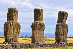 Ahu Akivi site in Easter Island, Chile Stock Photos