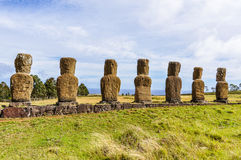 Ahu Akivi site in Easter Island, Chile. Ahu Akivi site, the only moai statues facing towards the sea in Easter Island, Chile stock images