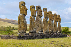 Ahu Akivi site in Easter Island, Chile Stock Photography