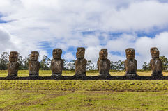 Ahu Akivi site in Easter Island, Chile stock photo