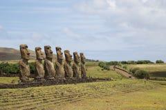 Ahu Akivi sull'isola di pasqua fotografia stock