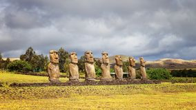 Ahu Akivi was the first restored Ahu, seven moai facing the rising sun, representing the seven scouts sent before the arrival. Of Hotu Matua, Easter Island royalty free stock photography