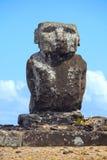 Ahu Ature Huki, Anakena Beach, Easter Island, Chile. Single Statue of Ahu Ature Huki standing alone over looking Anakena Beach, Easter Island, Chile royalty free stock photo