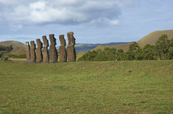 Ahu Kivi, Easter Island, Chile royalty free stock photo