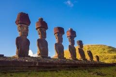 Ahu Nau Nau in Anakena beach. Easter Island in Chile. Rapa Nui stock image
