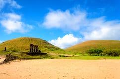Ahu Nau Nau on Easter Island royalty free stock images