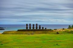 Ahu Nau Nau ultra long exposure in Anakena beach, Rapa Nui. Ahu Nau Nau front view ultra long exposure in Anakena beach, Easter Island stock photos