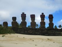 Ahu Nau Nau from Behind, Easter Island Chile royalty free stock photos