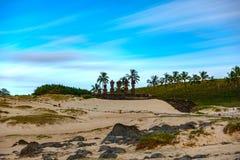 Ahu Nau Nau long exposure rear view in Anakena beach, Rapa Nui. Long exposure rear view of Ahu Nau Nau in Anakena beach, Easter Island stock images