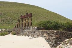 Ahu Nau Nau, Wielkanocna wyspa, Chile Fotografia Stock