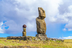 Ahu Tahai and Ahu Ko Te Riku. At Tahat Archeological Complex, Easter Island, Chile Royalty Free Stock Photos