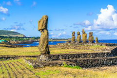 Ahu Tahai and Ahu Vai Uri. In Tahat Archeological Complex, Easter Island, Chile Royalty Free Stock Images