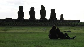 Ahu Tahai Couple, Easter Island royalty free stock image