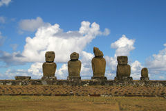 Ahu Tahai, Easter Island. Ahu Tahai - Moais on the Easter Island Royalty Free Stock Photography