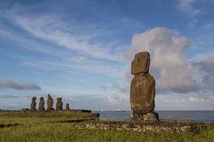 Ahu Tahai on Easter Island. Photograph of the moais at Ahu Tahai on Easter Island in Chile in morning light Stock Image
