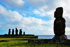 Ahu Tahai. Long shot of the Moai at Ahu Tahai in Hanga Roa in Rapa Nui, Easter Island, Chile, South America Royalty Free Stock Photography