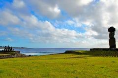 Ahu Tahai. Long shot of the Moai at Ahu Tahai in Hanga Roa in Rapa Nui, Easter Island, Chile, South America Royalty Free Stock Photo