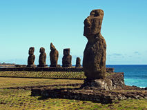 Ahu Tahai Moai  免版税库存照片