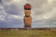 Ahu Tahai is one of three restored ahu in the Tahai ceremonial c. Omplex on Easter Island, Chile. It is unique because statues erected on it are all very Royalty Free Stock Photography
