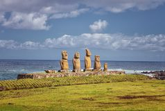 Ahu Tahai is one of three restored ahu in the Tahai ceremonial c. Omplex on Easter Island, Chile. It is unique because statues erected on it are all very Stock Image