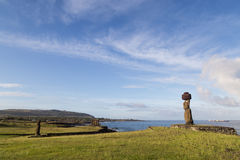 Ahu Tahai på påskön Arkivbilder