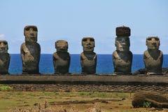 Ahu Tongariki, île de Pâques Image libre de droits