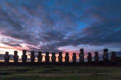 Ahu Tongariki на восходе солнца Стоковое Изображение RF