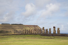 Ahu Tongariki на острове пасхи Стоковые Изображения