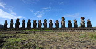 Ahu Tongariki, Easter island. On a clear day with blue skies Stock Photography