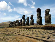 Ahu Tongariki, Easter Island. Ahu Tongariki - the largest ahu on the Easter Island royalty free stock photography