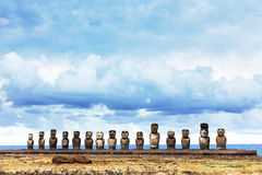 Ahu Tongariki in Easter Island. Fifteen moai in Easter Island against blue sea royalty free stock photography