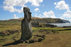 Ahu Tongariki, isola di pasqua Immagini Stock