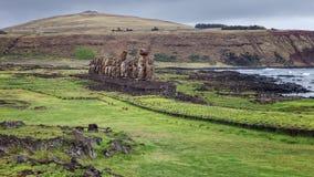 Ahu Tongariki, jest wielkim ahu na Wielkanocnej wyspie, Chile Obraz Royalty Free